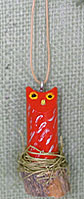 Red Navajo folk art owl ornament