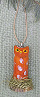 Orange Navajo folk art owl ornament