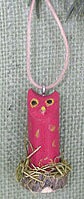 Pink Navajo folk art owl ornament