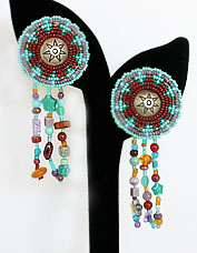 Turquoise/multi cut bead dangle earrings