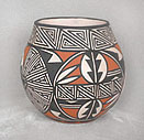 Example of Native American white slipped polychrome pottery