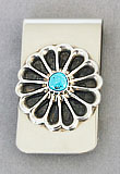 Money clip with cast silver and turquoise flower