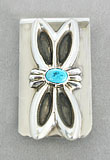 Silver/turquoise design money clip