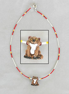 Red/multi 1-strand cat necklace