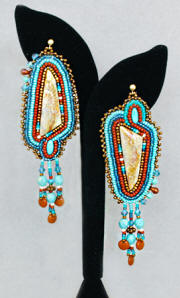 a2647 Chavez petrified coral/turquoise/multi beaded earrings