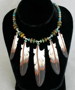a2822a Cloud aqua terra, silver and bison bone feather necklace
