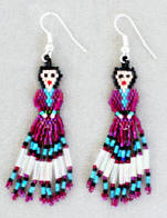 a2944 Magenta/multi hex bead doll earrings