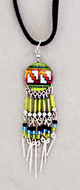 Green/multi Southwestern style beaded pendant