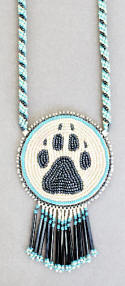 a2999 Chippewa ivory/multi wolf track medallion necklace