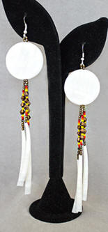 a3009 Shell/dentalium shell/bead long earrings