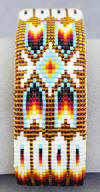 a3074 Clear gold/flame feather/arrow wide bead work cuff