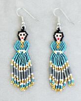 a3104 Sky blue/multi hex bead doll earrings