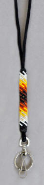 a3140 Clear light blue/flame beaded lanyard
