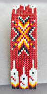 a3149 Red/flame feather/arrow beaded cuff bracelet