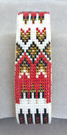 a3152 Red/white/multi feather/arrow bead cuff bracelet