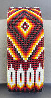 a3237 Clear red/flame beaded eagle feather/diamond pattern cuff bracelet
