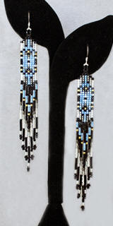 a3276 Shimmering sky blue, black, 24k gold plate/multi long Delica bead earrings