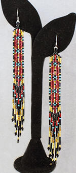 a3278 Gold/brick/turquoise/multi long earrings
