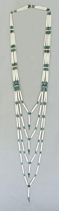 a3281 Trudeau bone hair pipe bead and turquoise cascade necklace