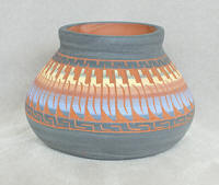 a3292 Tully red/multi small etched pot