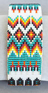 a3317 Turquoise/pearl/flame beaded eagle feather/diamond pattern cuff bracelet