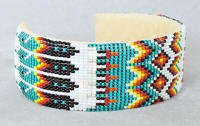 a3317a Turquoise/pearl/flame beaded eagle feather/diamond pattern cuff bracelet, side view