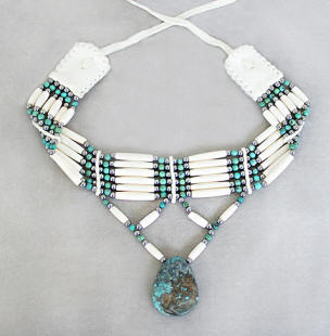a3333 6-strand bone hair pipe/turquoise choker with teardrop turquoise pendant