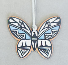 a3351 LaMone red clay/multi pottery butterfly ornament