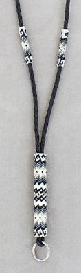 a3369 White/gray/clear beaded lanyard
