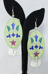 a3383 Large green/multi woodland floral pattern dangle earrings