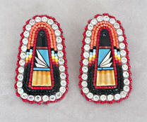 a3396 Henry coral/black/multi bead/inlay earrings
