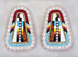 a3397 Henry extra-large pink/multi bead/inlay earrings