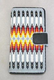 a3438 Gray/multi beaded black imitation leather cell phone wallet case
