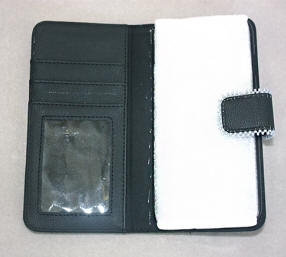 a3438 Gray/multi beaded black imitation leather cell phone wallet case, opened