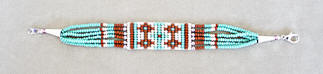 a3465 Turquoise/multi Chinle rug pattern clasp bead bracelet