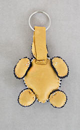 a3466 Turquoise/multi beaded turtle key holder, bottom view