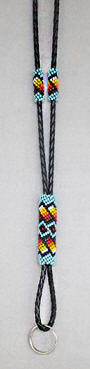 a3475 Turquoise/multi beaded lanyard
