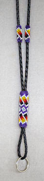 a3476 Iridescent purple/multi beaded lanyard