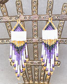 a3497 Dayglo tangerine/lavender/multi small pyramid bead earrings