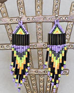 a3555 Black/varigated lavender/green/multi small pyramid bead earrings