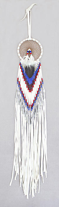 a3628 White leather/bead dream catcher with red/white/royal seed beads