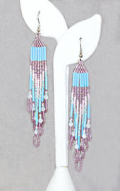 a3659 Pastel sky blue/pale blue/lined pink and mauve pyramid bead earrings